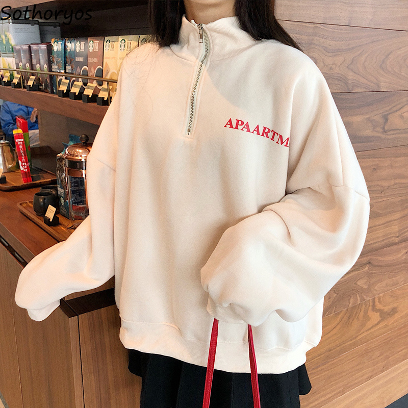 Hoodies Women Stand Collar Thicker Letter Printed Loose Leisure Sweatshirts Womens Korean Style Harajuku All-match Pullovers