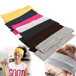 1/2 sztuk kobiet jednolity kolor potu bawełna opaska elastyczna szeroki wysokiej elastyczna opaska do włosów moda kobiety opaski do włosów jogi akcesoria do włosów