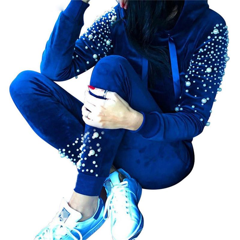 TAOVK Gorgeous Pearl Velvet Sport Suit Women's Suits Hooded Pullover Sweatshirt Pants Streetwear