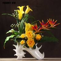 High simulation large flower arrangement Real touch artificial rose calla lily Anthurium in ceramic vase yellow flower art suit