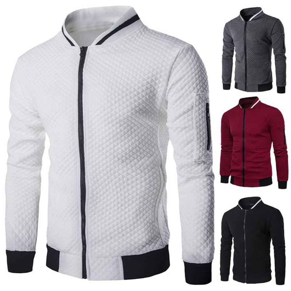 2020 New Casual Men Solid Color Long Sleeve Zipper Pocket Walf Short Coat Varsity Jacket Collar Baseball Jersey Cardigan Coat