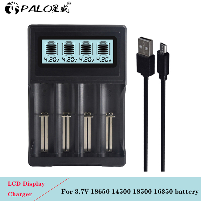 PALO 4 slots LCD Display 18650 battery Charger for 18650 14500 18500 16350 battery 3.7V series lithium ion battery charging