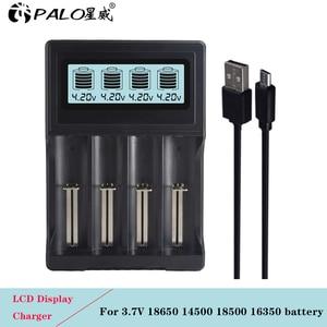 Image 1 - PALO 4 yuvaları LCD ekran 18650 pil şarj cihazı 18650 14500 18500 16350 pil 3.7V serisi lityum iyon batarya şarj