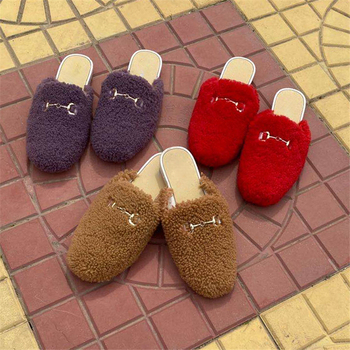 2020 Spring And Autumn Fur Slippers Real Wool Toe Cap Shoes Outdoor Shoes Ladies Mules Platform Slippers cap toe flat mules