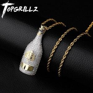 Image 1 - TOPGRILLZ Big ขวดไวน์สร้อยคอ Cubic Zircon Iced OUT จี้ Hip Hop ผู้ชายผู้หญิงทองสี Vogue เครื่องประดับสำหรับ rocker