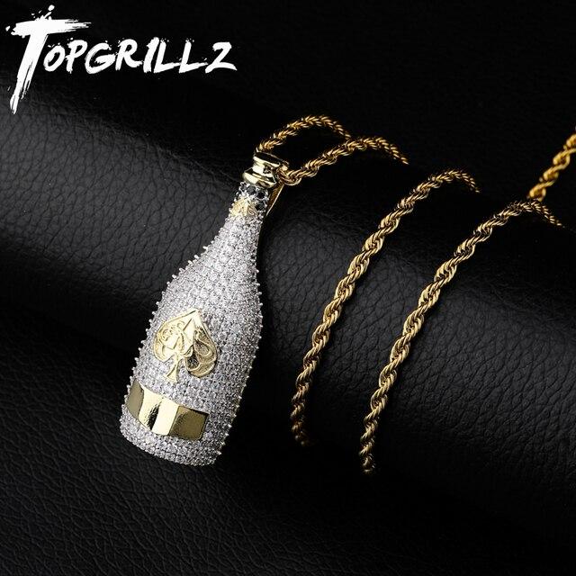 TOPGRILLZ Big ขวดไวน์สร้อยคอ Cubic Zircon Iced OUT จี้ Hip Hop ผู้ชายผู้หญิงทองสี Vogue เครื่องประดับสำหรับ rocker