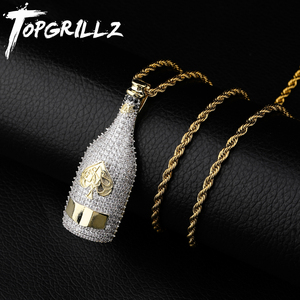 Image 1 - TOPGRILLZ Big Wine Bottle Necklaces Full Cubic Zircon Iced Out Pendants Hip Hop Men Women Gold Color Vogue Jewelry For Rocker