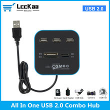 LccKaa USB HUB Combo All In One USB 2.0 Micro SD High Speed Card Reader 3 Ports Adapter Connector For Desktop Computer Laptop