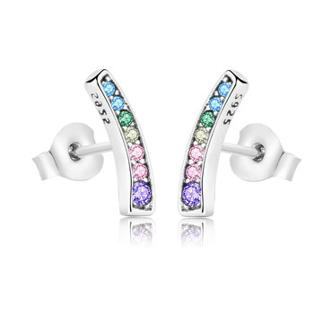 Real 925 Sterling Silver Earrings Color CZ Rainbow Arcs of Love Stud Earrings For women 2018 Spring Fashion Jewelry Berloque