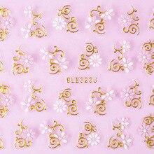 Производители Горячие продажи 3D двойной цвет вспенивания Ble золотые наклейки на ногти цветок роспись ногтей