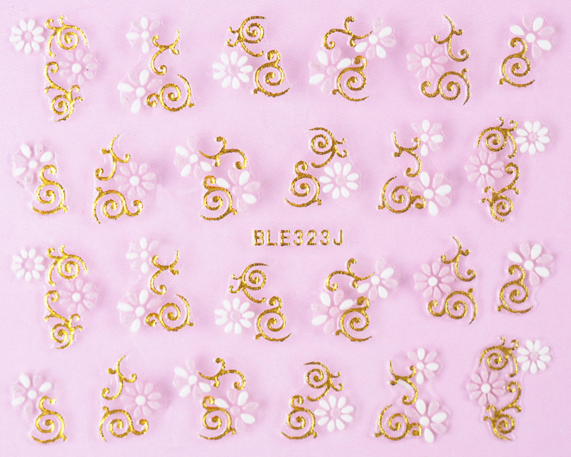 Manufacturers Hot Sales 3D Double Color Foaming Ble Gold Nail Sticker Flower Nail Ornament