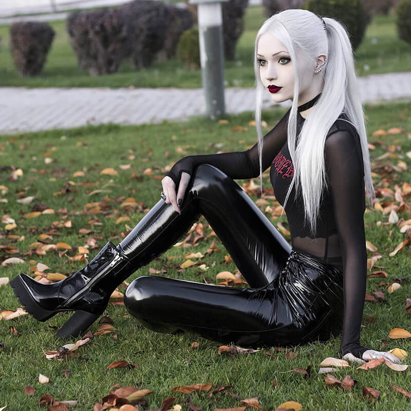 InsGoth High Waist Bodycon Faux Leather Pants Gothic Streetwear Lace Up Light Leather Long Trousers Casual Party Female PU Pants 1