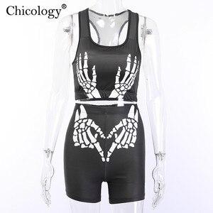 Image 5 - Chicology ensemble 2 deux pièces pour femme, vêtements streetwear, été automne boléro, short taille haute, imprimé à la main, 2019