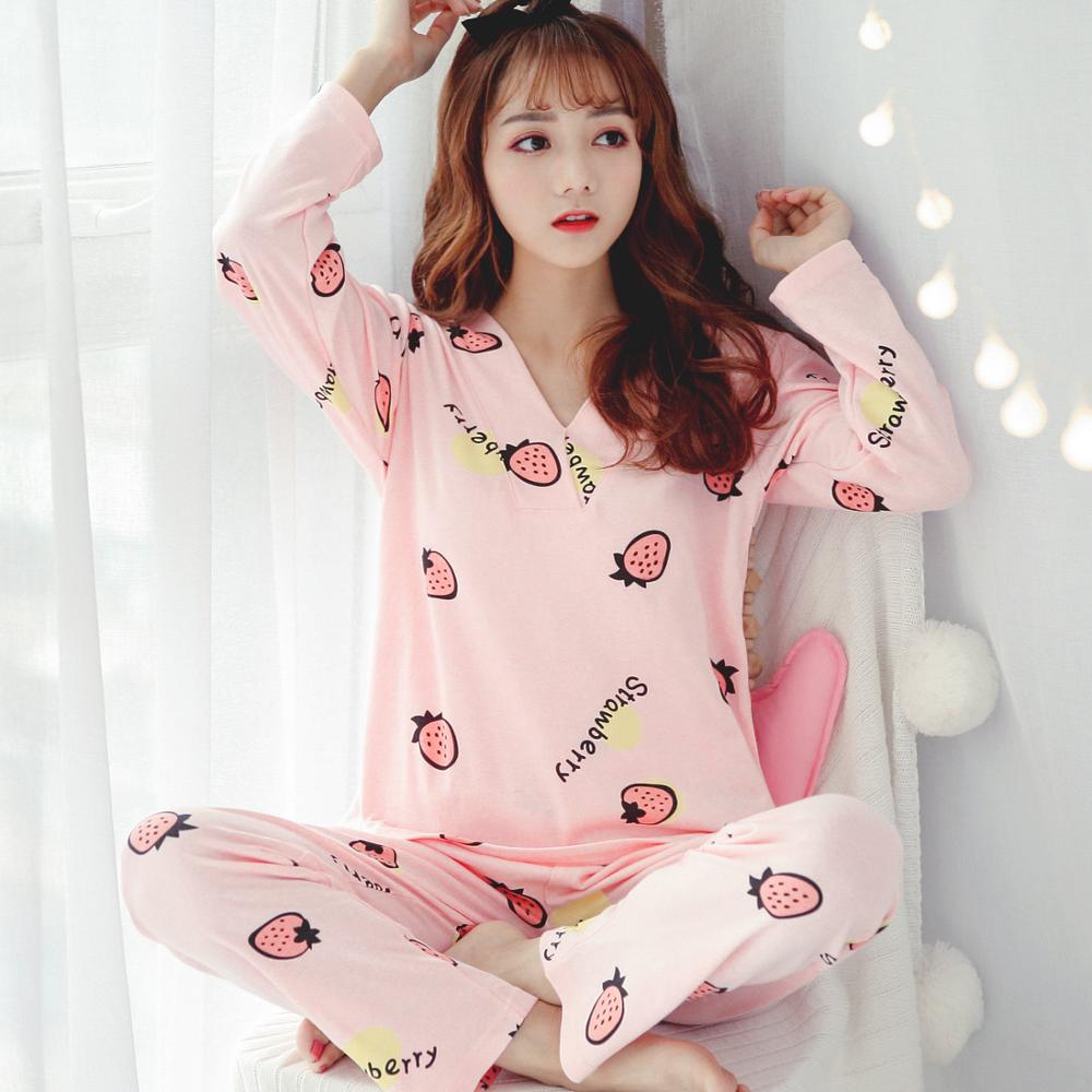 New Arrival Fashionable Pajamas For Women Soft Cotton Good Quality Loose Casual Pyjamas For Girls Sleepwear Indoor Wear