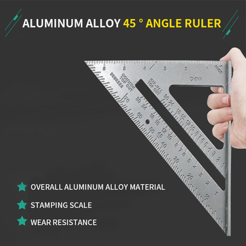 Measurement Tool Triangle Square Ruler Aluminum Alloy Speed Protractor Miter For Carpenter Tri-square Line Scriber Saw Guide#2 woodworking ruler square triangle ruler for speed square triangle angle protractor laser engraving carpenter measuring tools