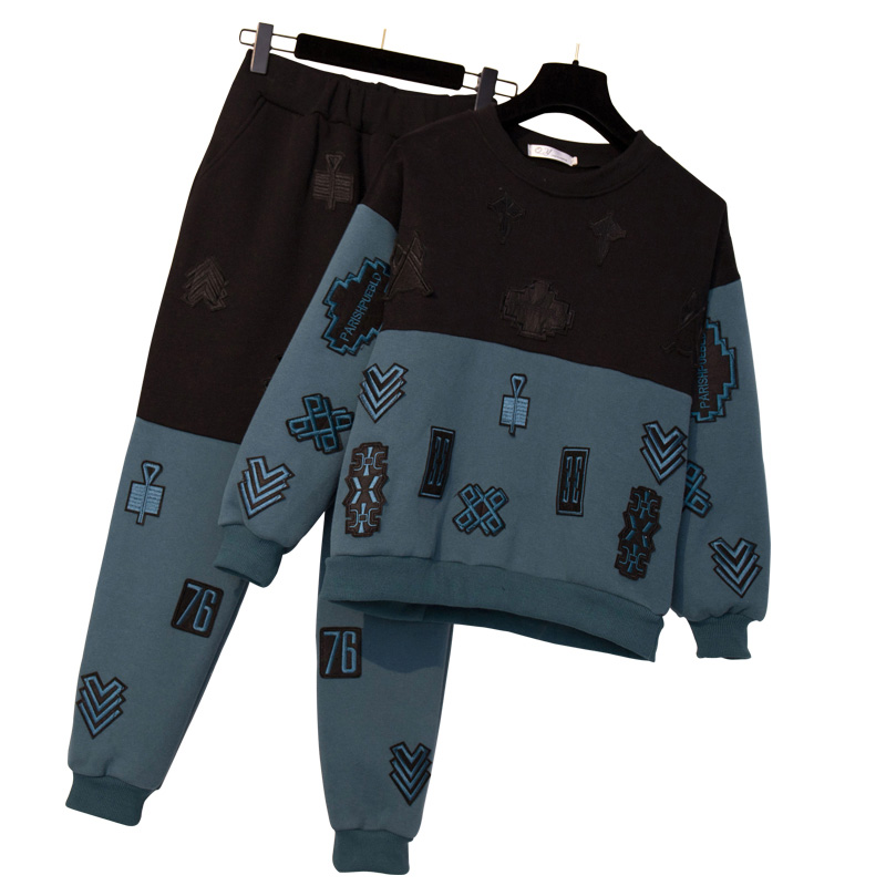Large Plus Size XL 5XL Tracksuit Winter Women Knitted 2 Piece Set Sportwear Pullover Sweater And Pocket Pant Suit 2 PCS Set