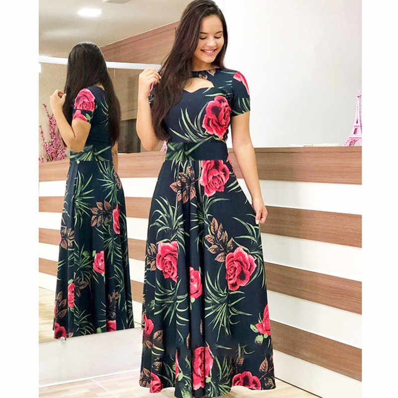 Elegante Lente Herfst Vrouwen Jurk 2019 Casual Bohmia Bloemenprint Maxi Jurken Fashion Hollow Out Tuniek Vestidos Jurk Plus Size