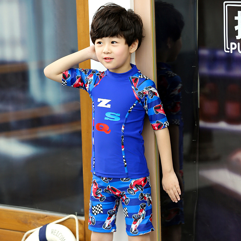 2018 KID'S Swimwear BOY'S Swimming Trunks Set Boy Split Type Small Children Baby Cartoon Car Tour Bathing Suit