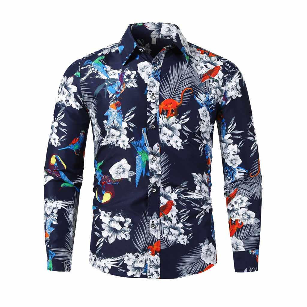 Divertidas camisetas hawaianas con estampado de dinosaurio de dibujos animados para hombre de moda Casual de manga larga Social ajustado Fit camisas de vestir ropa coreana para hombres