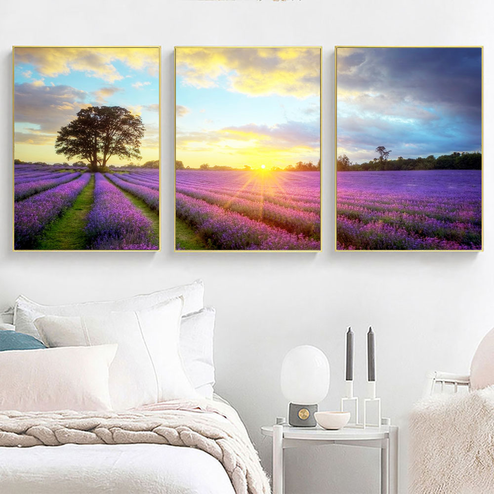 Scandinavian Decor Lavender Flower Garden Canvas Painting Blue Posters and Prints Modern Home Decoration Wall Art Pictures