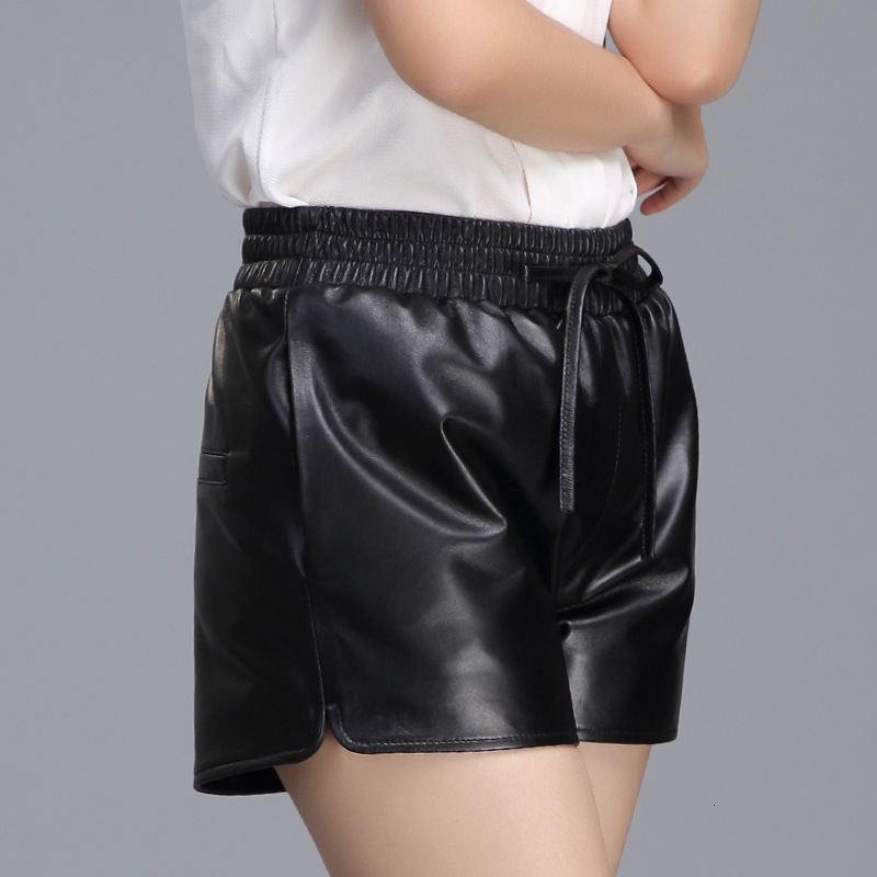 2020 Spring Casual Genuine Leather Womens Trousers Streetwear High Quality Comfort Shorts High Waist Slim Wide Leg Lace Up Short