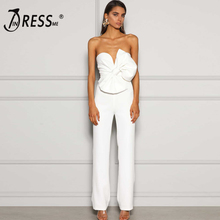 INDRESSME 2020 Womens Bodycon Strapless Bow V Neck Sleeveless Jumpsuit New Sexy Fashion Party Vestido Club Summer Jumpsuit