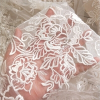 Summer high grade embroidered cotton line sequins lace fabric cloth applique wedding dress clothing fabric veil material