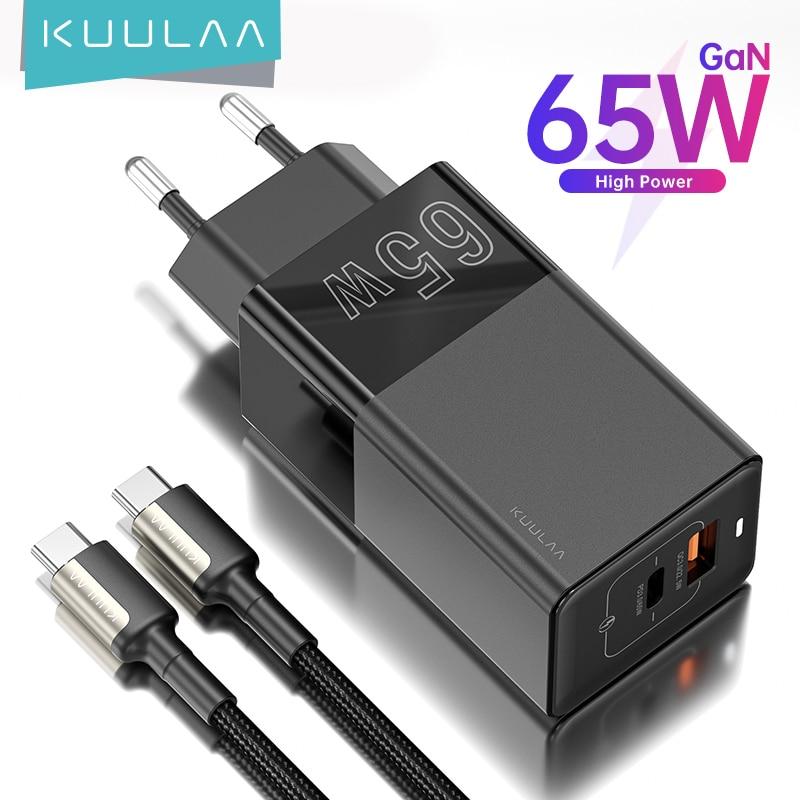 KUULAA – Chargeur rapide USB Type-C, 65W GaN, PD/QC 3.0/4.0, pour téléphone, ordinateur portable et tablette, iPhone/Xiaomi