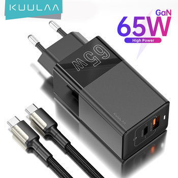 KUULAA 65W GaN Charger Quick Charge 4.0 3.0 USB Type C QC PD USB Charger Portable Fast Charger For iPhone Xiaomi Laptop Tablet