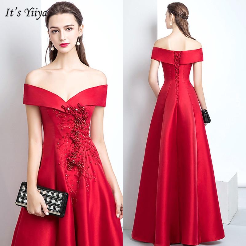 It's Yiiya Evening Dress Boat Neck Plus Size Short Sleeve Red Robe De Soiree Appliques Floor Length Women Party Dresses V153