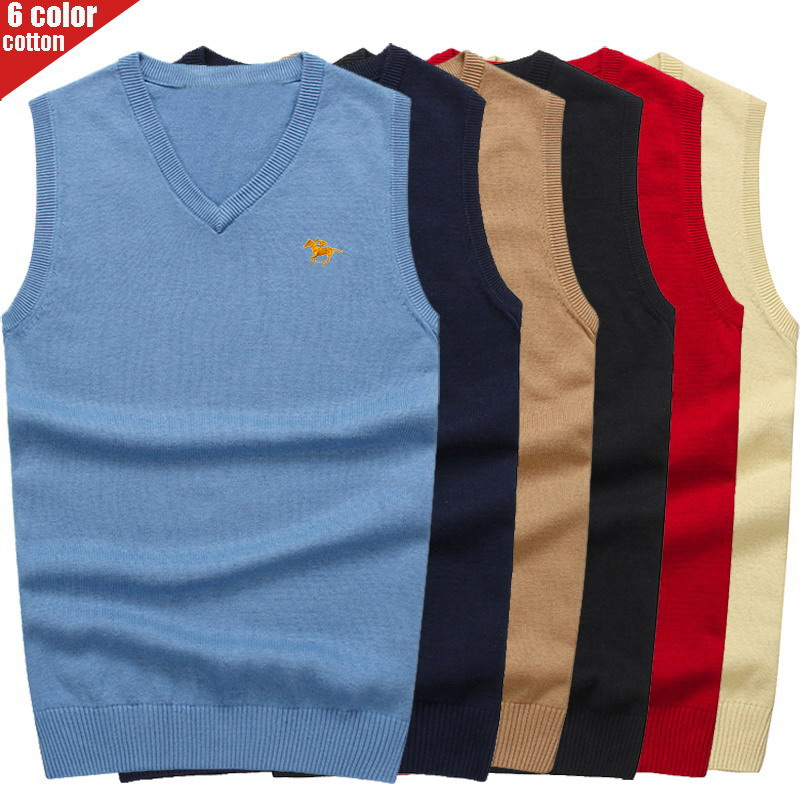 3D Polo Vests V-neck Knitted Sweaters Autumn Fashion Casual Men Sweaters Pullover Slim Fit Cotton Solid Men Pullover Plus Size