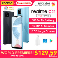 Realme C21 Welt Premiere! 4GB 64GB Globale Version NFC 5000mAh Batterie 6,5 zoll Großen Bildschirm MTK Helio G35 13MP AI Quad kameras