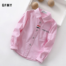 GFMY 2021 Spring 100% Oxford Textile Cotton Thick Full Sleeve Embroidered letters Solid color  Black Blue Boys white Shirts