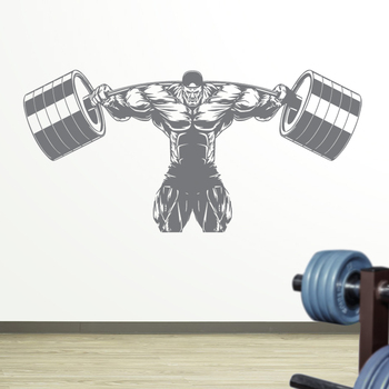 Fitness Decal Gym Barbell Sticker Body-building Posters Vinyl Wall Decals Mural Fitness Crossfit Decal Muscle Gym Sticker