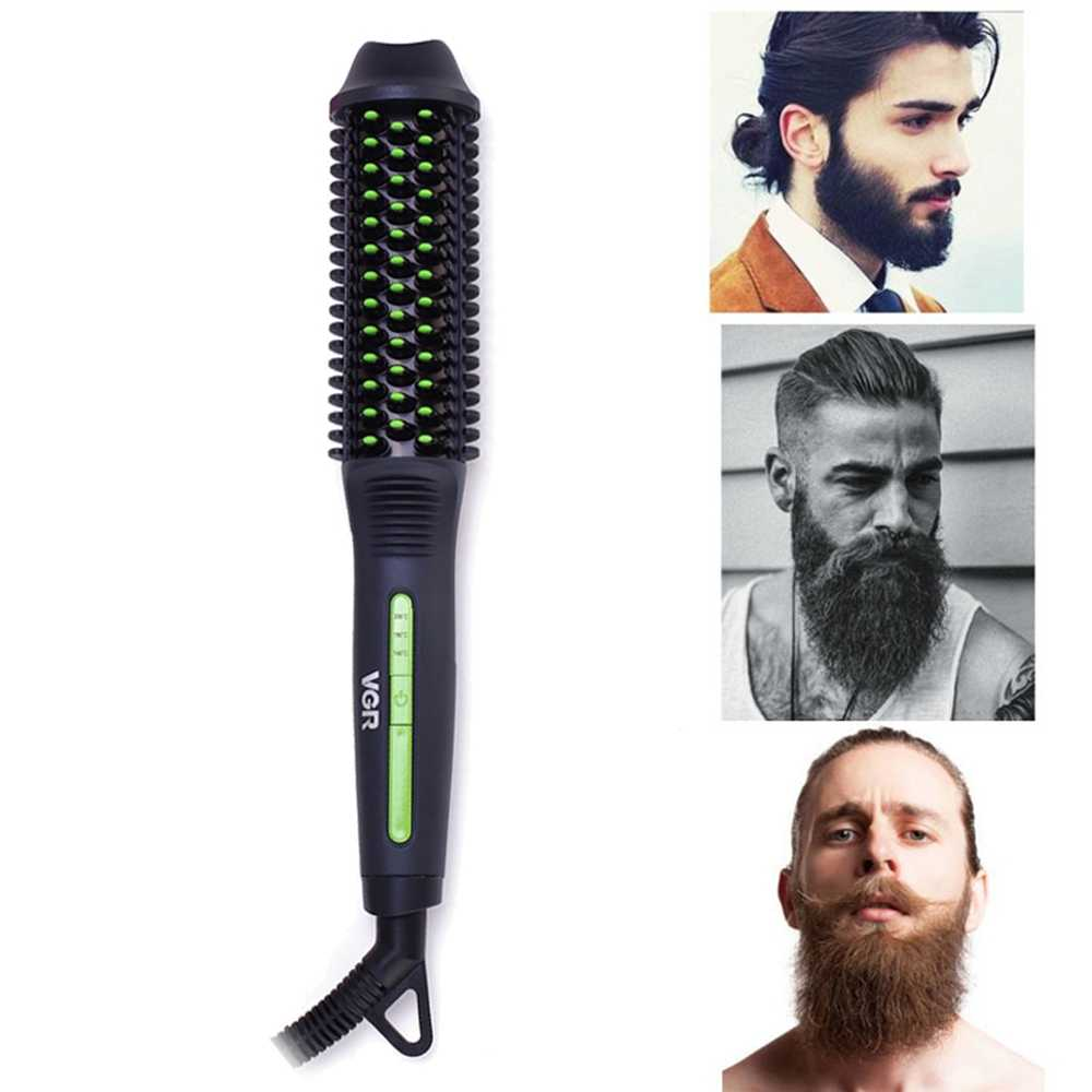 New portable electric quick beard comb for men and women, hair straightening brush, heat brush to smooth the beard