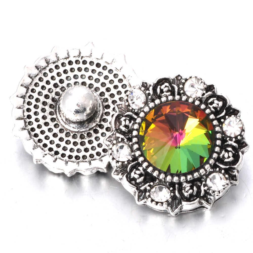 5 sztuk/partia gorąca sprzedaż hurtowa Snap biżuteria 18mm Metal kryształ zatrzaski przycisk biżuteryjny bransoletki bransoletki dla kobiet