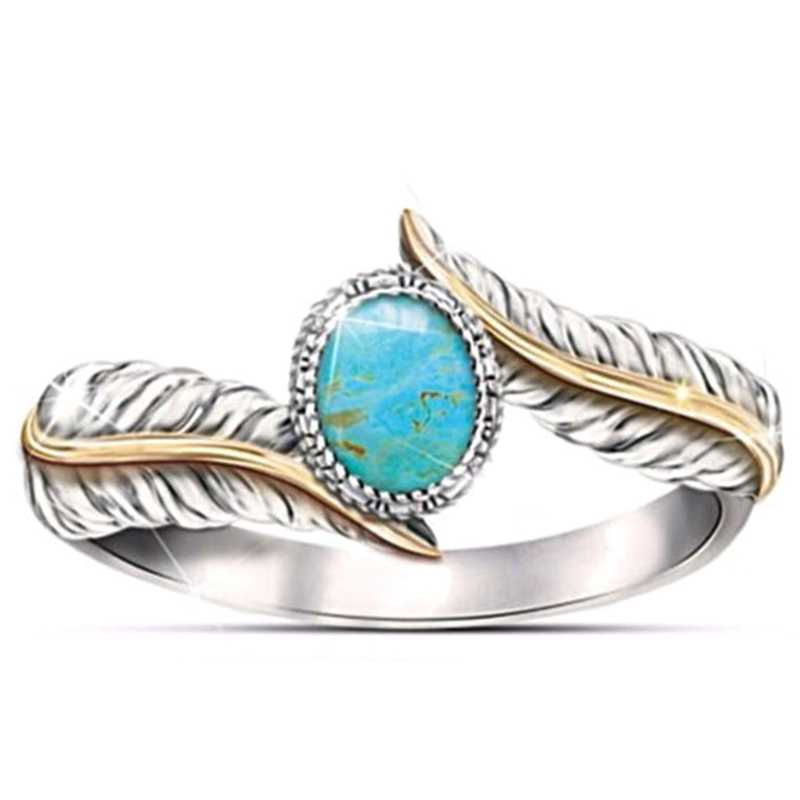 Blue  Peacock Feather Rings For Women Angel Wings Wedding Ring Ladies Valentines Day Party Jewelry Gifts