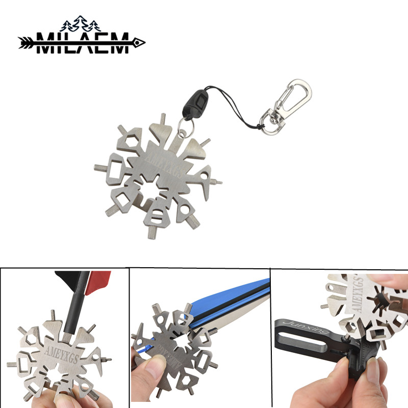Snowflake shape wrench Multi function Archery Tool Outdoor Sports Wrench Arrow Repair for Archery and creative Gift Keychain in Darts from Sports Entertainment