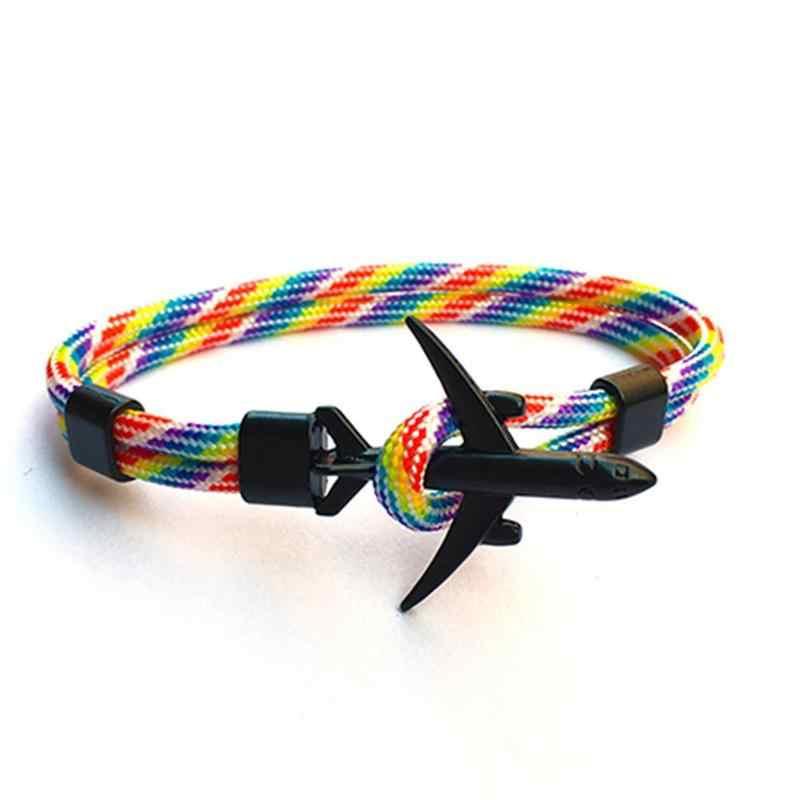 カップルブレスレットファッション飛行機ブレスレットユニセックスチャームロープチェーン傘ロープラップ金属スポーツフックブレスレット