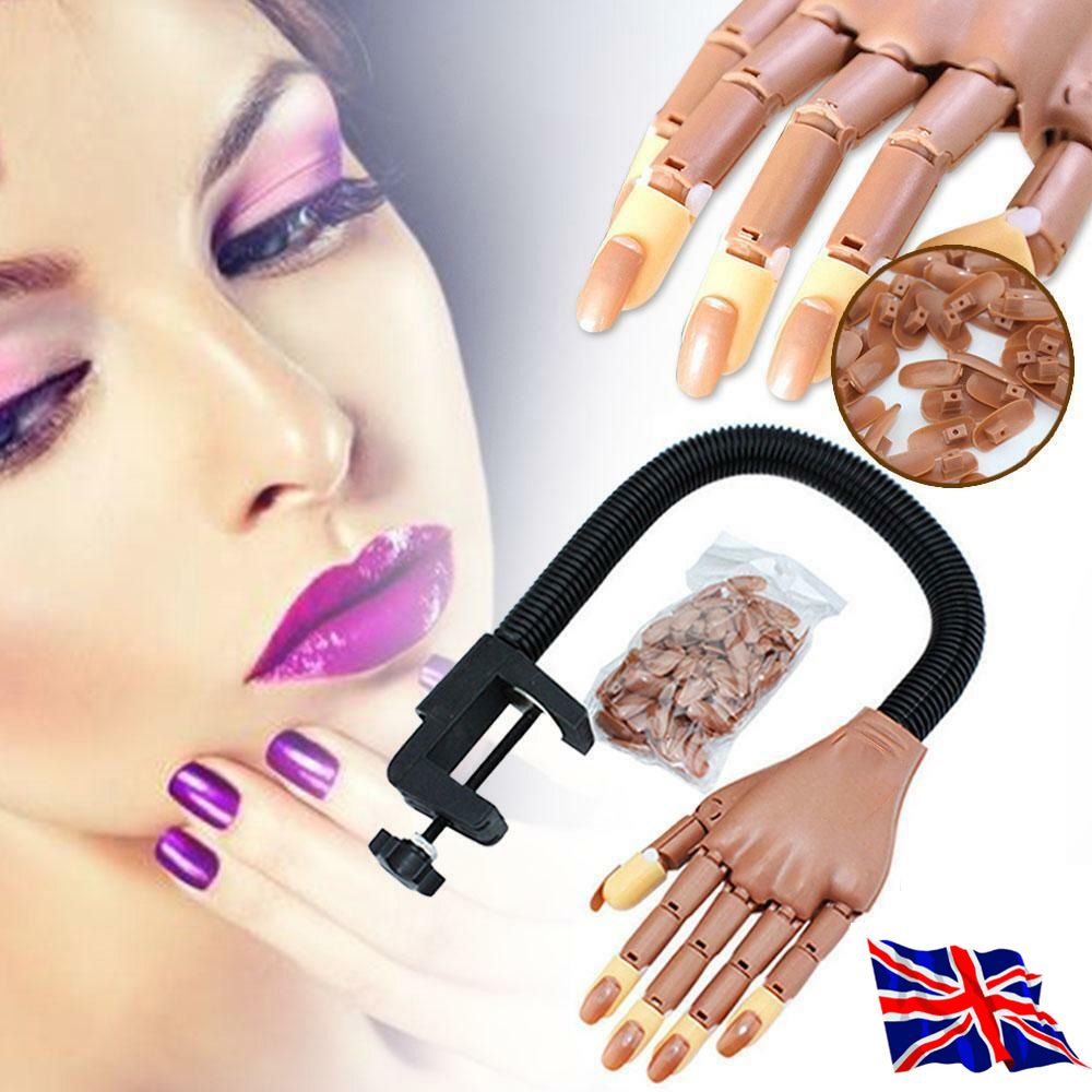 Nail Art Training Hand Adjustable Makeup Practice Learning Model Refit Nail Tips