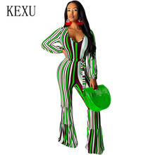 KEXU Hot Stripe Print Sexy Long Sleeve Trousers Jumpsuits New Arrival Women Casual High Waist Stripe Rompers Macacao Feminino стоимость