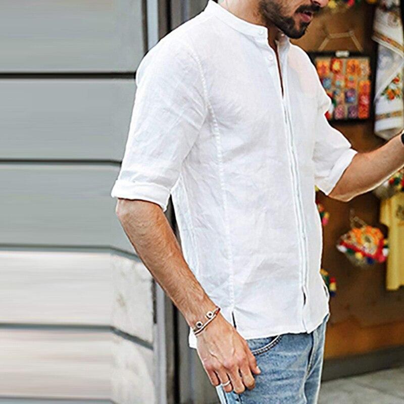 Мужская Повседневная рубашка с коротким рукавом, профессиональная рубашка, мужская приталенная рубашка, однотонная мужская деловая
