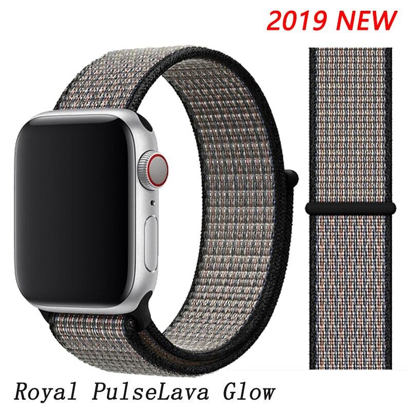 Спортивная петля ремешок apple watch band 42 мм 38 мм apple watch 4 3 band iwatch band 44 мм 40 мм correa pulseira 42 44 нейлоновый ремешок для часов - Цвет ремешка: Royal Pulse Lava