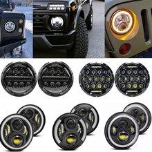 7inch LED Scheinwerfer halo DRL Für Jeep Wrangler TJ JK LJ CJ für Land Rover Defender für Nissan Patrol y60 Hummer H1 H2 Lada 4X4