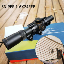 SNIPER 1-6×24FFP Hunting Riflescopes Adjustable Red Light Tactical Scope Reticle Optical Rifle Fast Focus