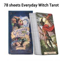 78 piezas de cartas de Tarot de bruja todos los días juego de mesa inglés juego de cartas de divinación destino Tarot baraja de cartas para entretenimiento de fiesta