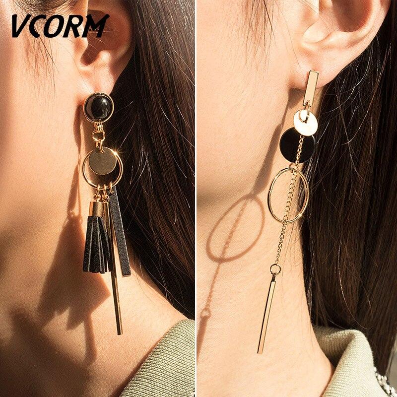 Long Drop Earrings Asymmetric Geometric Gold Silver Dangle Round Big Earring New
