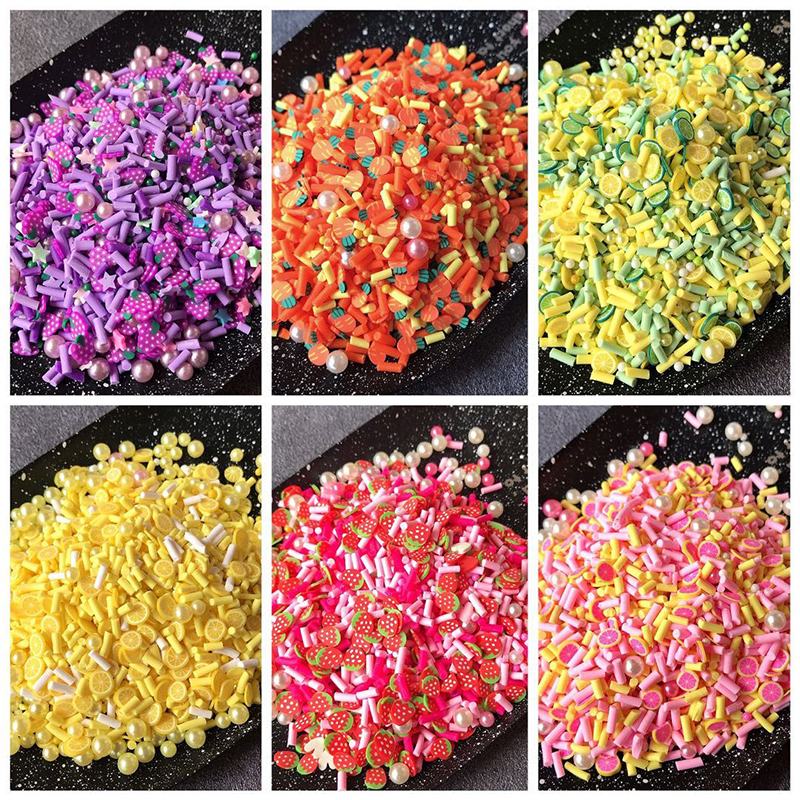 Boxi 10g Slime Additives Charms Polymer Clay Fruit Lemon Slice Topping Supplies Cute DIY Sprinkles Filler For Cloud Clear Slime