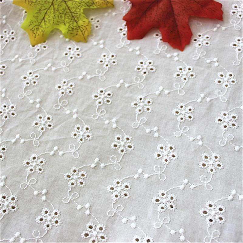 Ажурная кружевная ткань из чистого хлопка, ручная работа, аксессуары для одежды, ширина 130 см, 1 ярд