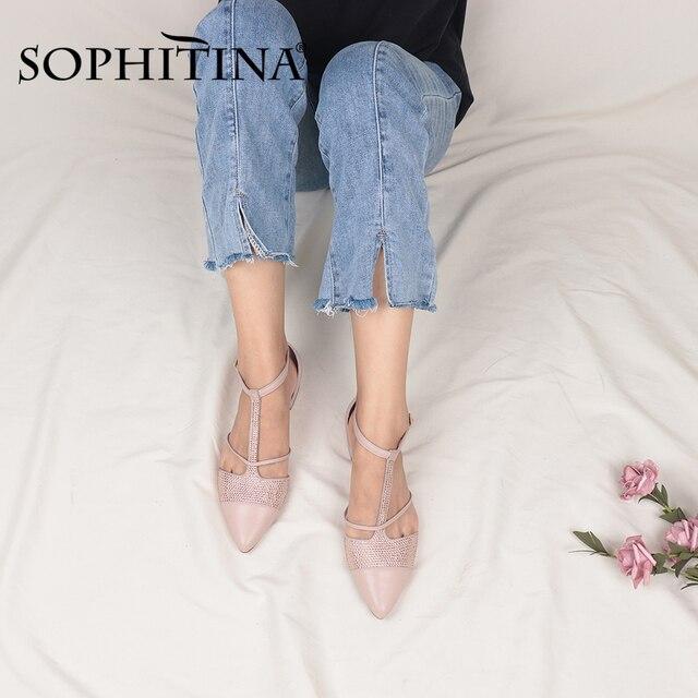 Фото sophitina/женская обувь на плоской подошве с т образным ремешком